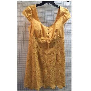 Laundry Shelli Segal Lace Cotton Cap Sleeve Dress